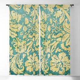 Vintage Antique Green and Gold Pattern Wallpaper Blackout Curtain