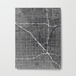 Anaheim Map, California USA - Charcoal Portrait Metal Print