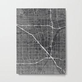 Anaheim Map, California USA - Charcoal Portrait Metal Print