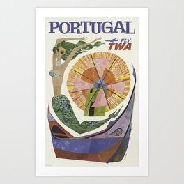 Portugal Fly TWA - Vintage Travel Poster Art Print