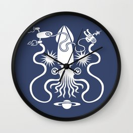 Gargantuan Space Squid Danger Imminent Wall Clock