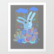 Hugging Rabbits Art Print