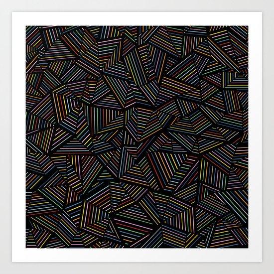 Ab Linear Rainbow Black Art Print