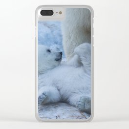 polar bear mother with cub Clear iPhone Case