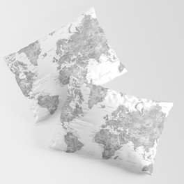 Grayscale watercolor world map with cities Pillow Sham