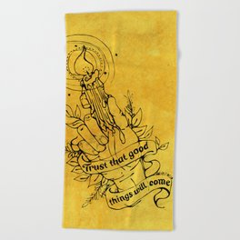 Candle Light Hope (Yellow Colors) Beach Towel