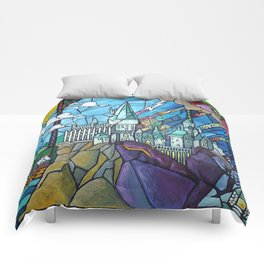Hogwarts stained glass style Comforters