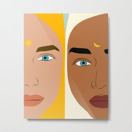 Day & Night, Sun & Moon Friendship Illustration, Nature Bohemian Woman Empower Portrait Metal Print