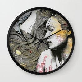 Monument (long hair girl with bird and skyline tattoo) Wall Clock