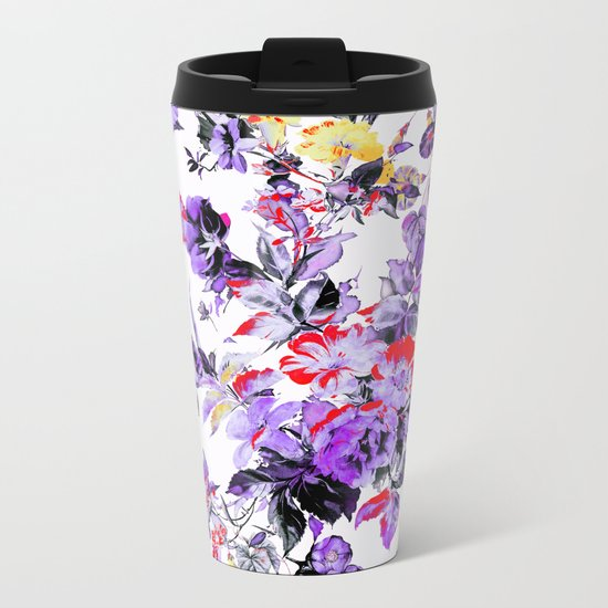 FRACTAL FLORA II Metal Travel Mug