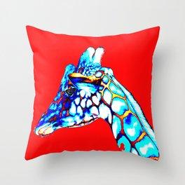 Colorful Giraffe Red (Left facing) Throw Pillow