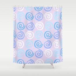 Lavender white blue violet aqua geometrical swirls pattern Shower Curtain