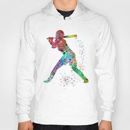 Baseball Softball Player Sports Art Print Watercolor Print Girl's softball Hoody