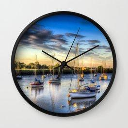 River at Sunset Wall Clock