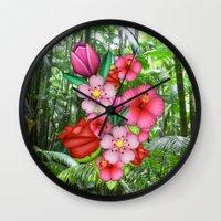 emoji Wall Clocks featuring Flower Emoji by jajoão