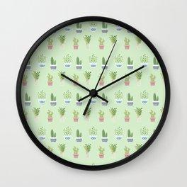 Modern pastel green pink trendy cactus floral pattern Wall Clock