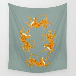 Leopard Race - blue Wall Tapestry