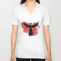 cyrilliart V-neck T-shirts featuring Mockingjay by Cyrilliart