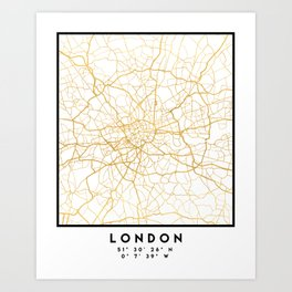 LONDON ENGLAND CITY STREET MAP ART Art Print