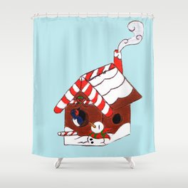 The Birdy's Christmas Cottage Shower Curtain