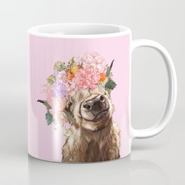 Highland Cow with Flowers Crown in Pink Coffee Mug