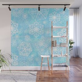 Snowflakes - Blue Wall Mural