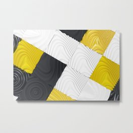 Pattern of black, white and yellow cubes Metal Print