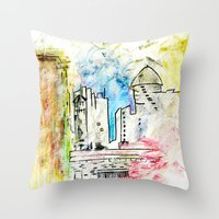 cityscape Throw Pillows featuring Cityscape by Alyssa Leary