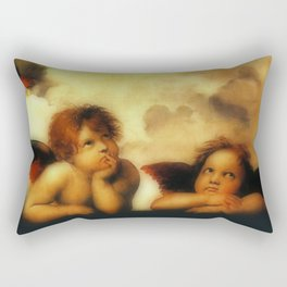 "Raffaello Sanzio da Urbino ""Sistine Madonna"", 1513-1514 - angels (1) Rectangular Pillow"