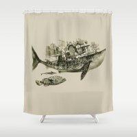 shark Shower Curtains featuring shark by Кaterina Кalinich