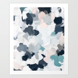 Navy Indigo Blue Blush Pink Gray Mint Abstract Air Clouds Art Sky Painting Art Print