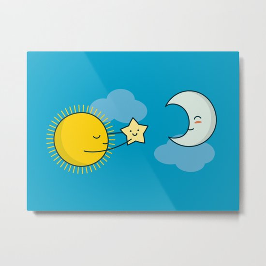 Sun and Moon - Cute Doodles Metal Print
