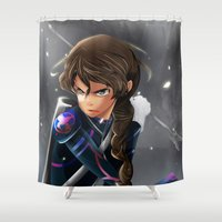 katniss Shower Curtains featuring Katniss - The Last Arrow by H.M.Remi