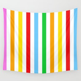 Stripes (Parallel Lines) - Red Blue Green Pink Wall Tapestry