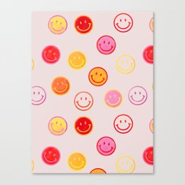 Smiling Faces Pattern Canvas Print