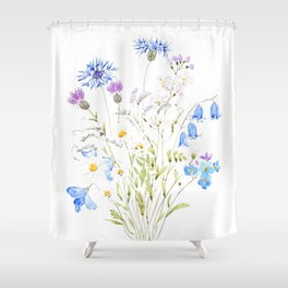 white purple and blue wildflowers  Shower Curtain