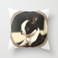 puppy Throw Pillows featuring Puppy by EliseBrave