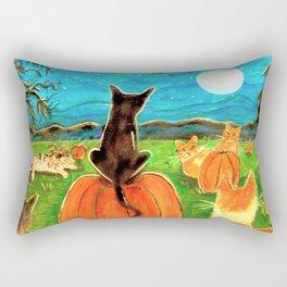 Seven Cats in Pumpkin Patch Rectangular Pillow
