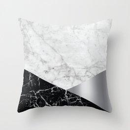 Geometric White Marble - Black Granite & Silver #230 Throw Pillow