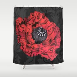 Dancing Red Poppy Shower Curtain