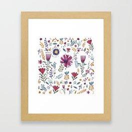 Watercolor Flowers White Framed Art Print