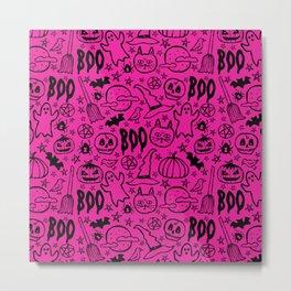 Spooky Pattern - Hot Pink Metal Print