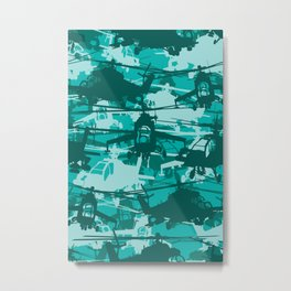 Military Camoflauge Neck Gator Teal Camo Helicopter Chopper Metal Print