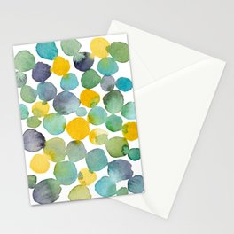Kissing Dots - Blues and Yellows Stationery Cards