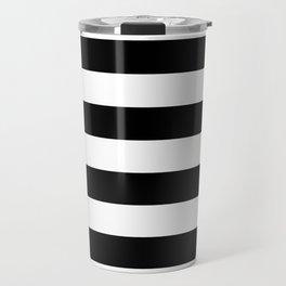 Black Bold Stripes Travel Mug
