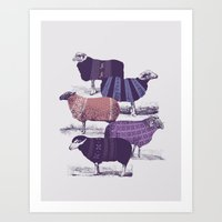 sheep Art Prints featuring Cool Sweaters by Jacques Maes
