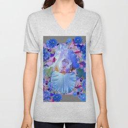 PASTEL IRIS & BLUE  FLOWERS  GREY PATTERNS ART Unisex V-Neck