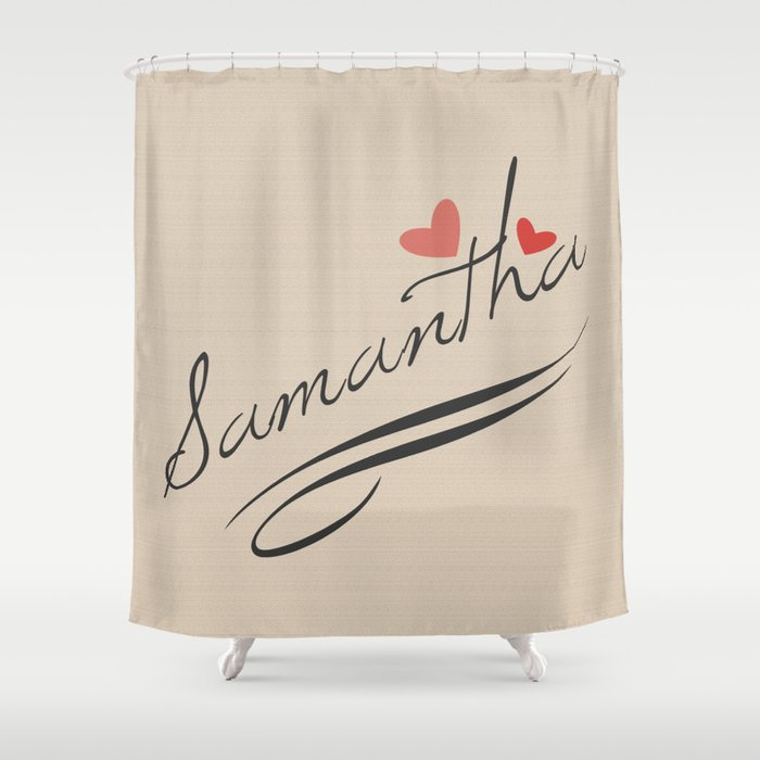 Custom Name Typography Print Shower Curtain
