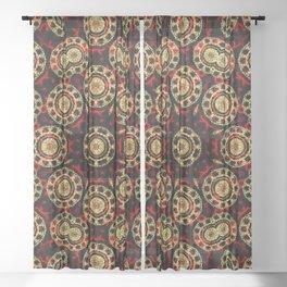 Gold on Red and Black Circular Mandala Sheer Curtain