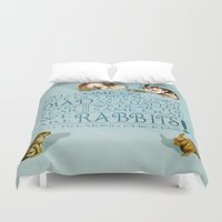 rabbits Duvet Covers featuring Freaking Rabbits by Diogo Verissimo